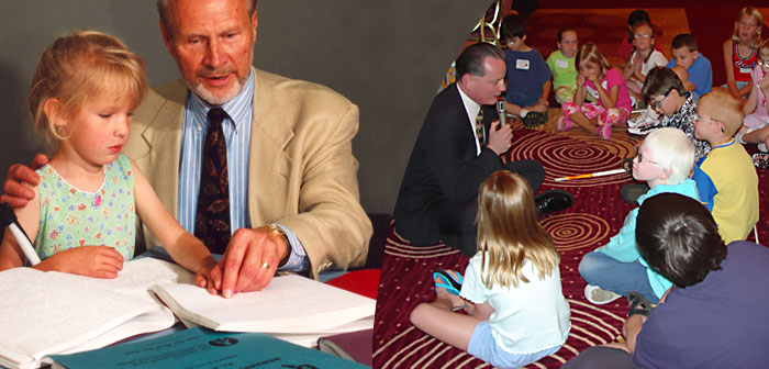 A child learns to read Braille with her grandfather, and Dr. Marc Maurer sits on the floor with blind children while telling them a story.